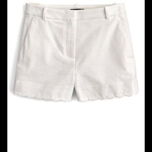 J. Crew White Scallop Hem Stretch Cotton Shorts 6
